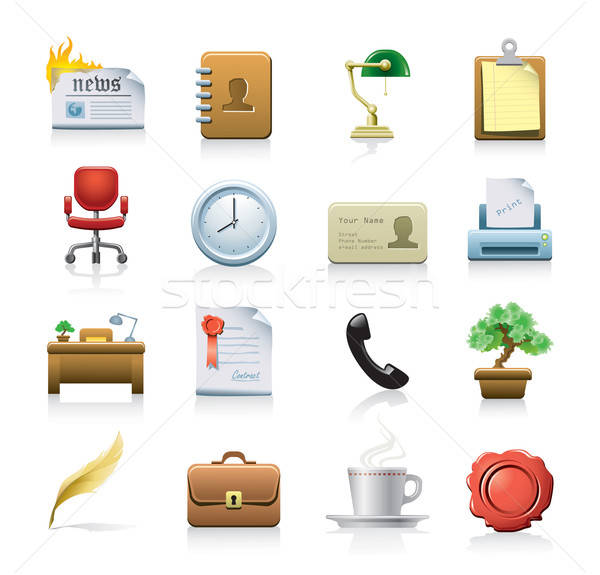Business 16 web icons geïsoleerd witte Stockfoto © abdulsatarid