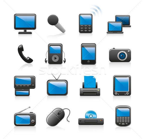 multimedia icon set Stock photo © abdulsatarid