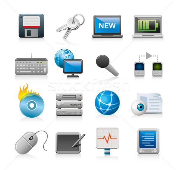 веб-иконы 16 изолированный белый интернет микрофона Сток-фото © abdulsatarid