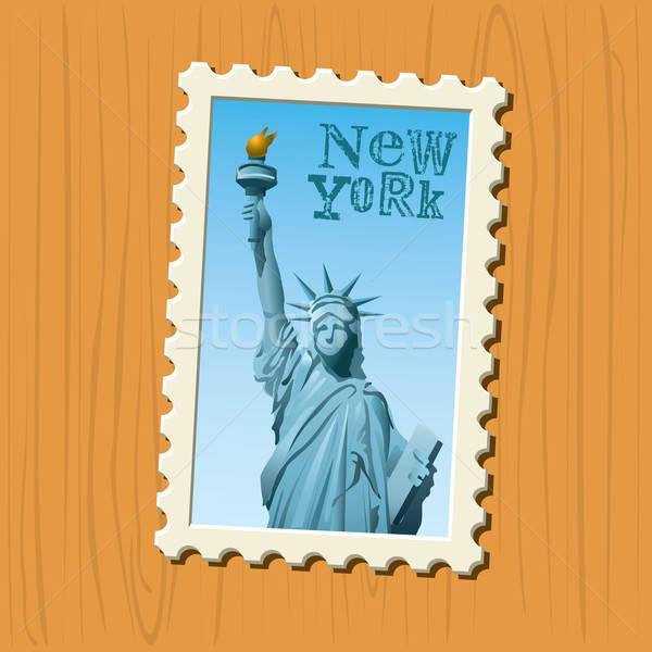 Noto destinazioni New York legno montare Foto d'archivio © abdulsatarid