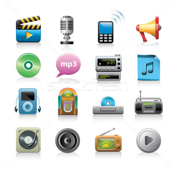 music icon set Stock photo © abdulsatarid