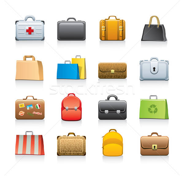 bags icon set Stock photo © abdulsatarid
