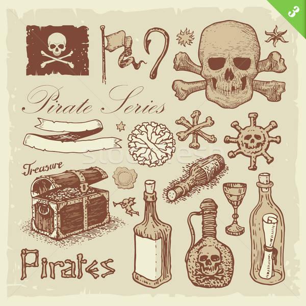пиратских вектора набор eps10 рисованной Сток-фото © abdulsatarid
