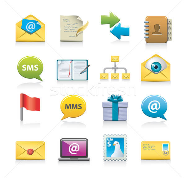 message icon set Stock photo © abdulsatarid