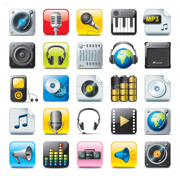 audio icons Stock photo © abdulsatarid