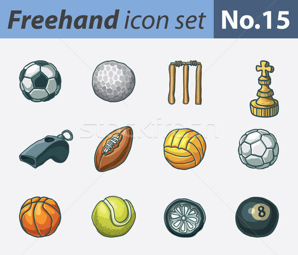 Freehand icons - sports Stock photo © abdulsatarid