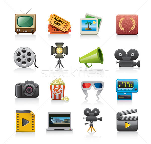 movie icon set Stock photo © abdulsatarid