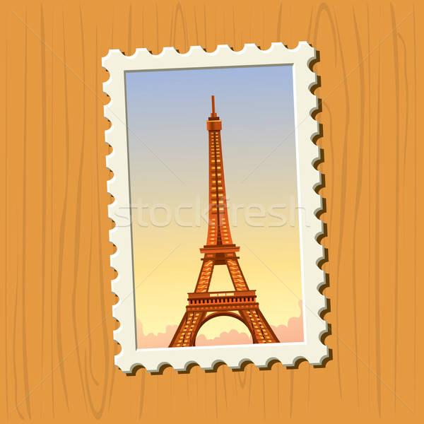 Эйфелева башня штампа почтовая марка соответствовать кадр Сток-фото © abdulsatarid