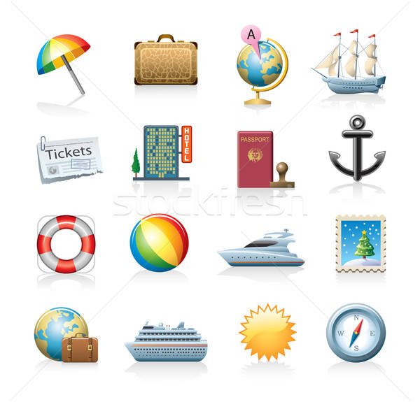 travel icon set Stock photo © abdulsatarid