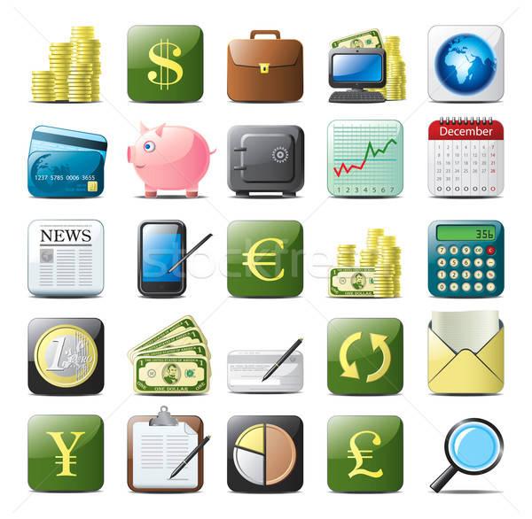 финансовых На 25 вектора иконки изолированный Сток-фото © abdulsatarid