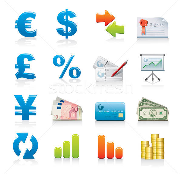 Financiar 16 iconos de la web aislado blanco Foto stock © abdulsatarid