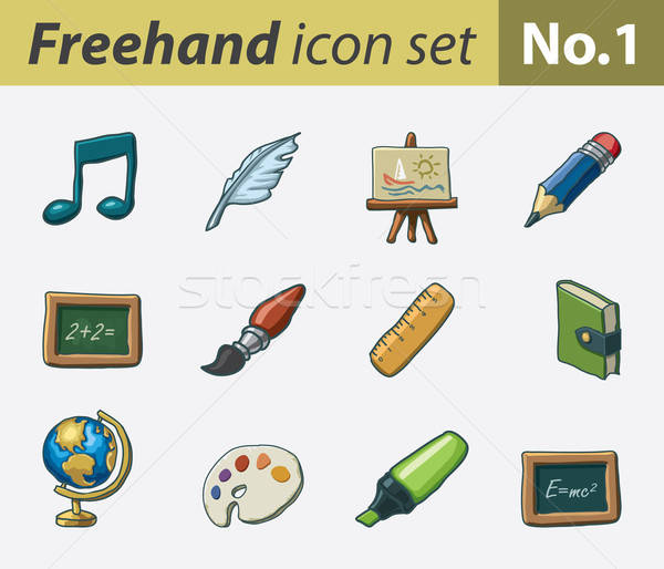 Freehand icons - school Stock photo © abdulsatarid