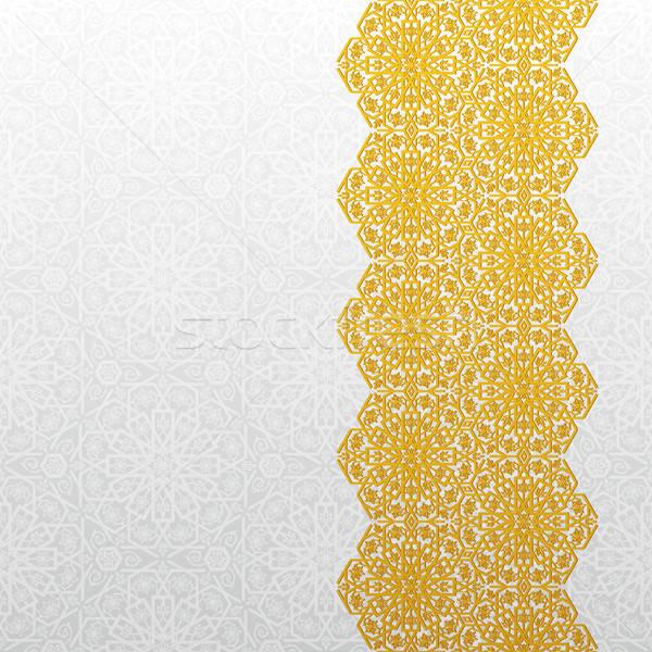 Abstrato tradicional ornamento ouro retro papel de parede Foto stock © AbsentA