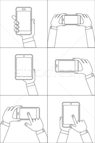 Handen mobiele telefoons ingesteld lijn iconen Stockfoto © AbsentA