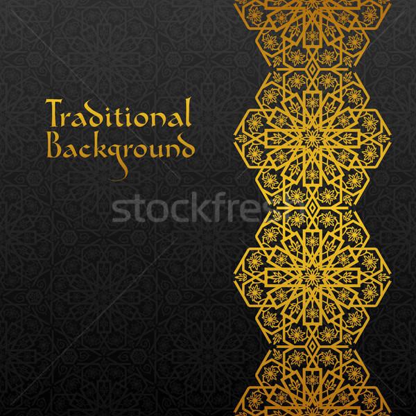 Soyut geleneksel süs siyah altın Retro Stok fotoğraf © AbsentA