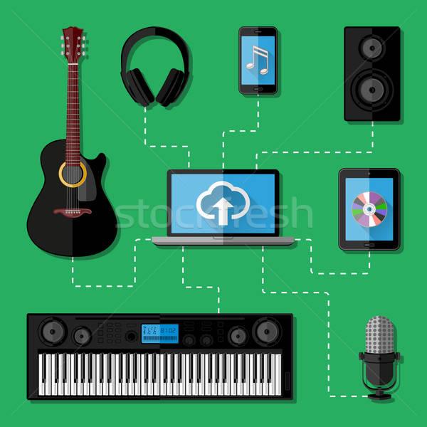 Stock photo: Music recording studio concept. Flat design. Vector illustration.