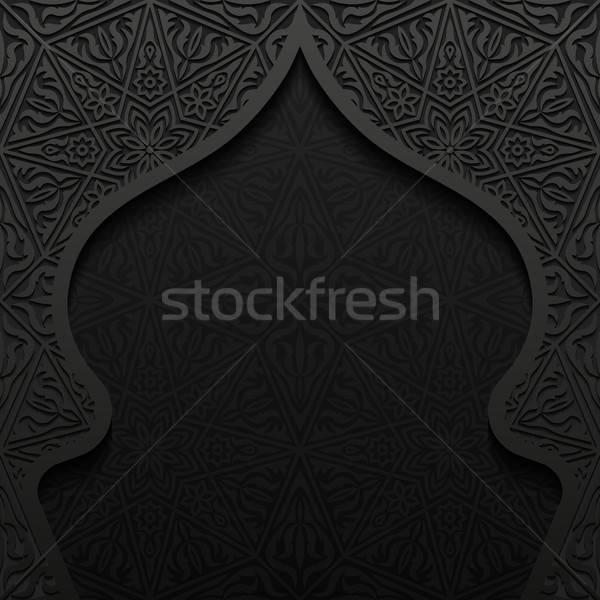 Abstrato tradicional ornamento projeto preto papel de parede Foto stock © AbsentA