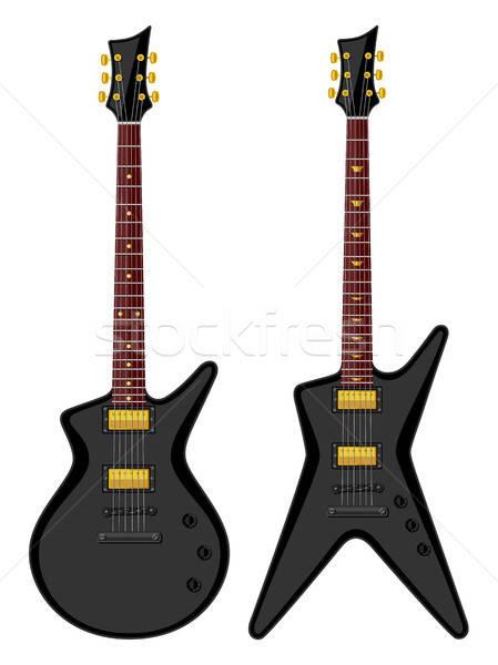 Stockfoto: Moderne · elektrische · gitaar · zwarte · retro · witte