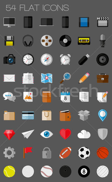 54 flat icons and pictograms set. EPS10 vector illustration Stock photo © AbsentA