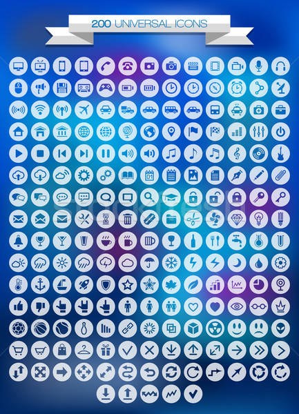 200 universal icons set. Vector illustration. Stock photo © AbsentA