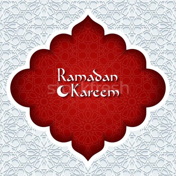 Ramadán üdvözlőlap absztrakt piros retro tapéta Stock fotó © AbsentA