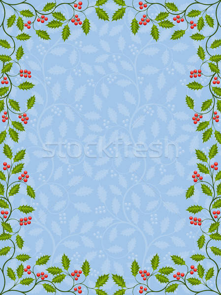 Floral frame with holly Stock photo © AbsentA