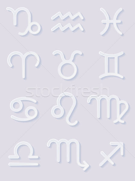 Paper Zodiac Signs. Icons Set Stock photo © AbsentA