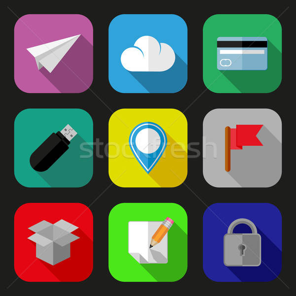 Stock photo: Flat icons and pictograms set