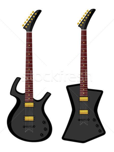 Stockfoto: Moderne · elektrische · ontwerp · gitaar · zwarte · retro