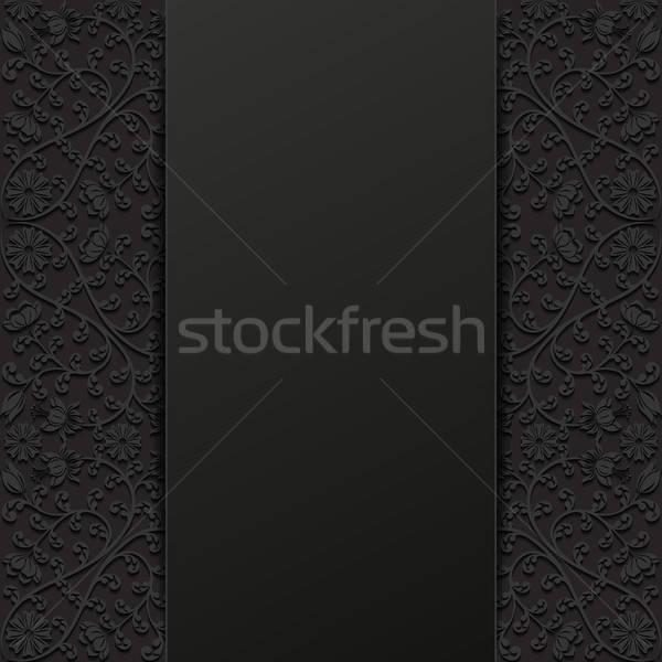 Résumé floral design fond noir rétro Photo stock © AbsentA