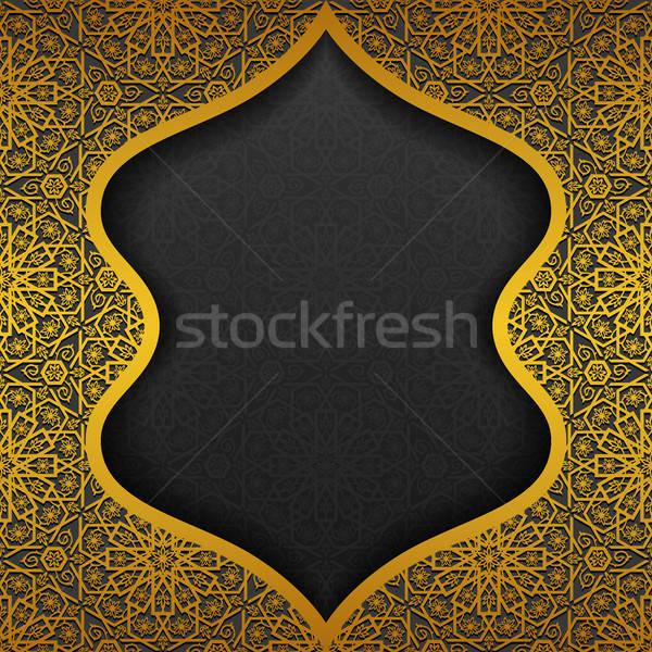 цветочный традиционный орнамент дизайна черный золото Сток-фото © AbsentA