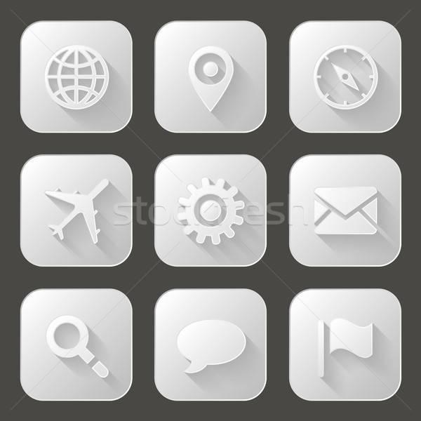 Stockfoto: Ingesteld · iconen · lang · schaduw · papier · internet