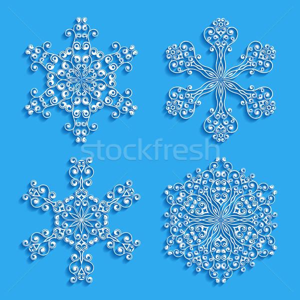Ingesteld decoratief sneeuwvlokken abstract natuur patroon Stockfoto © AbsentA