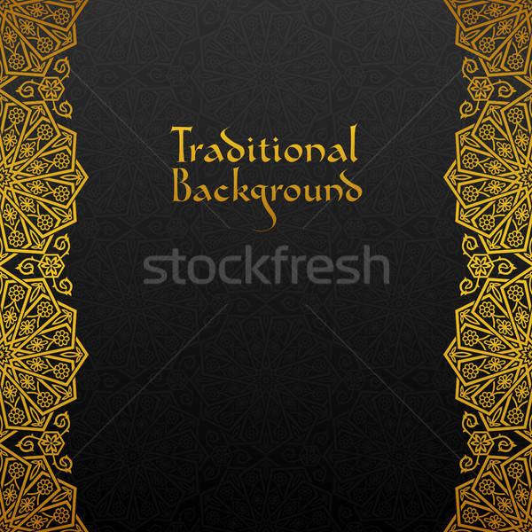 цветочный кадр традиционный орнамент дизайна черный Сток-фото © AbsentA