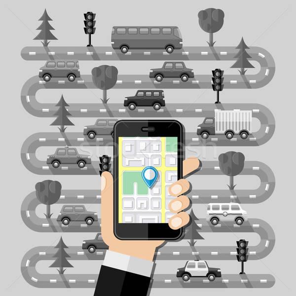 Navigáció terv autó internet férfi város Stock fotó © AbsentA