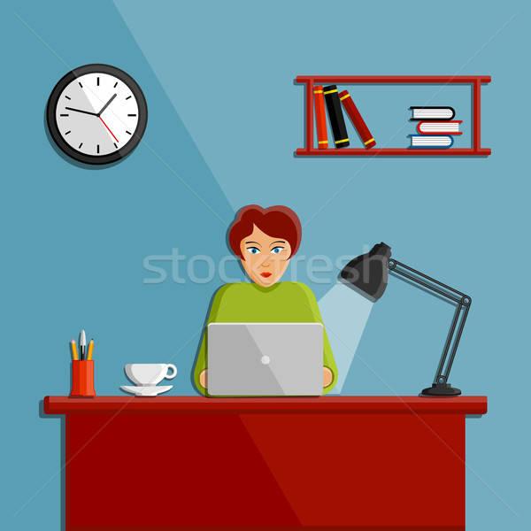 женщину рабочих служба компьютер кофе ноутбука Сток-фото © AbsentA