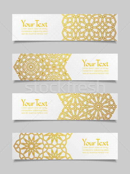 Ingesteld banners traditioneel ornament ontwerp achtergrond Stockfoto © AbsentA