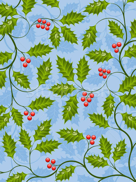 Abstract background with a holly branch Stock photo © AbsentA