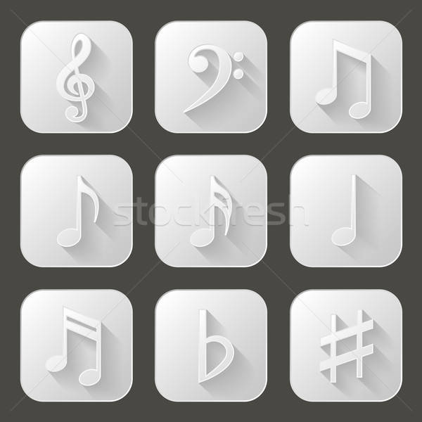 Music notes. Set of icons with long shadow Stock photo © AbsentA