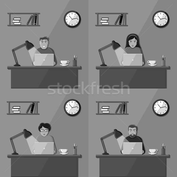 Personnes travaillant personnes bureau travail bureau vecteur Photo stock © AbsentA