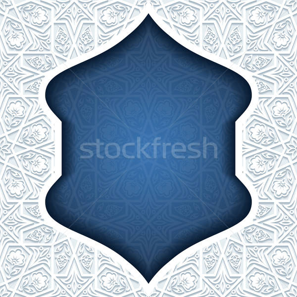 Stockfoto: Abstract · traditioneel · ornament · Blauw · retro · behang