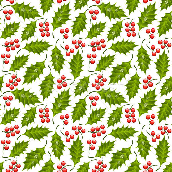 Seamless floral pattern with holly Stock photo © AbsentA