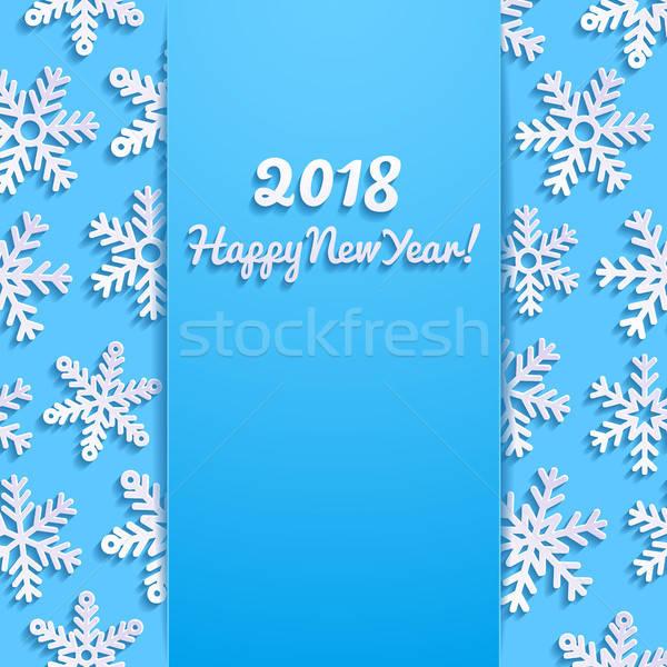 Gelukkig nieuwjaar wenskaart sneeuw achtergrond winter Blauw Stockfoto © AbsentA