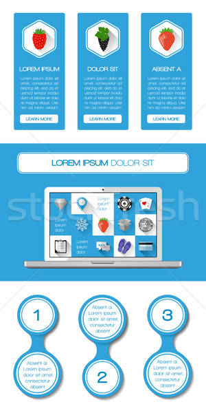 Stockfoto: Ui · infographics · web · communie · ontwerp · laptop