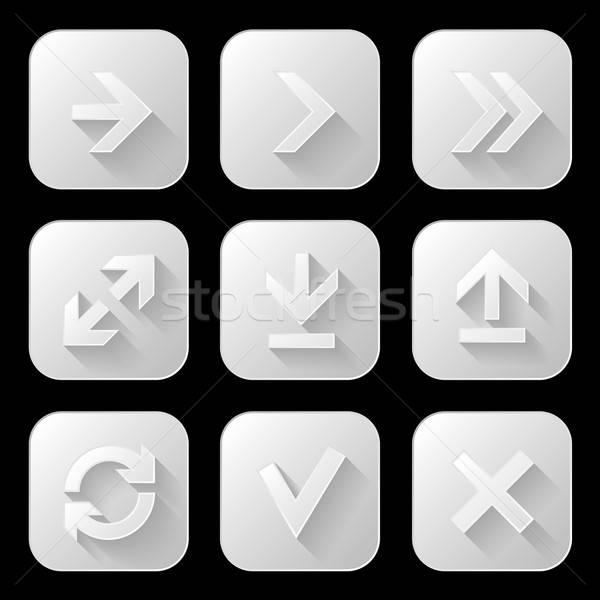 Ingesteld iconen lang schaduw business technologie Stockfoto © AbsentA