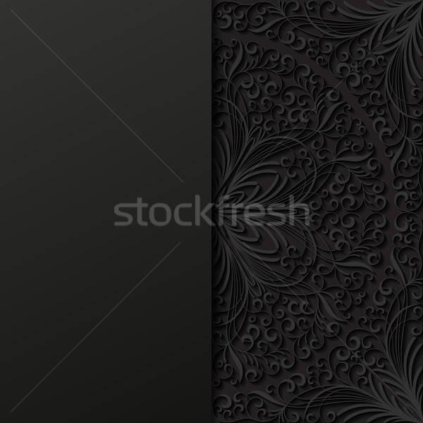 Résumé floral noir rétro wallpaper usine Photo stock © AbsentA