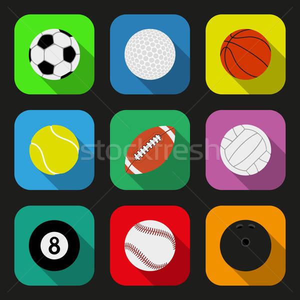 Stock fotó: Sport · golyók · ikon · szett · eps10 · golf · futball