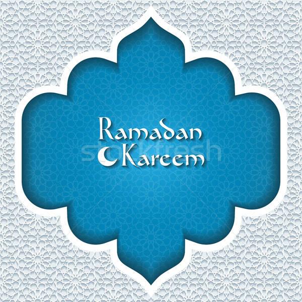 Ramadan wenskaart abstract Blauw retro behang Stockfoto © AbsentA