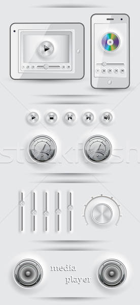 Media icons and buttons. EPS 10 vector illustration. Stock photo © AbsentA