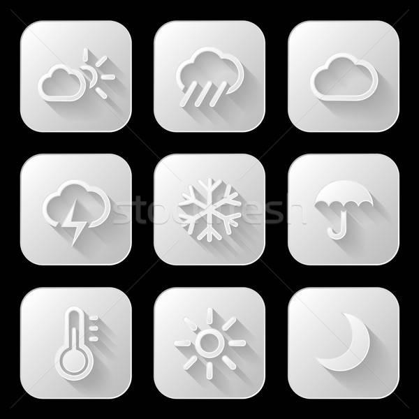 Météorologiques soleil pluie signe web Photo stock © AbsentA